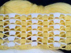 İki renkli tığ işi Örgü yelek, battaniye modeli